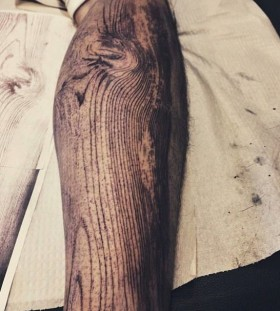 Wood grain arm tattoo by David Allen