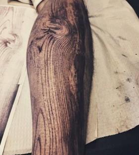 Wood grain arm tattoo by David Allen