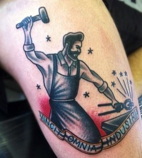 Working man tattoo by Matt Cooley