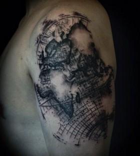 World map tattoo by David Allen