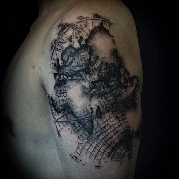 World map tattoo by David Allen