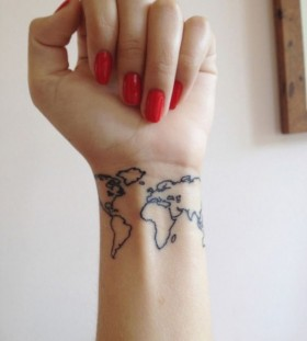 World's map wrist tattoo