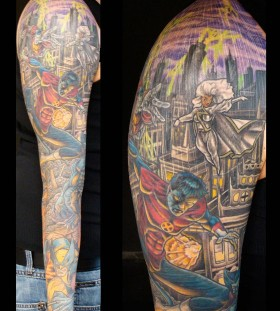 X-men theme arm tattoo