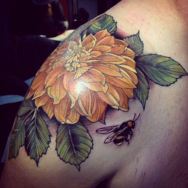 Yellow flower and bee tattoo by Alice Kendall