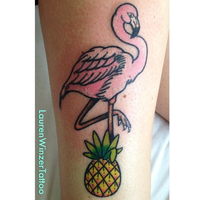 Yellow pineapple and pink flamingo tattoo by lauren winzer