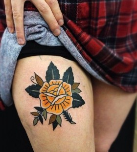 Yellow rose tattoo by Matt Cooley