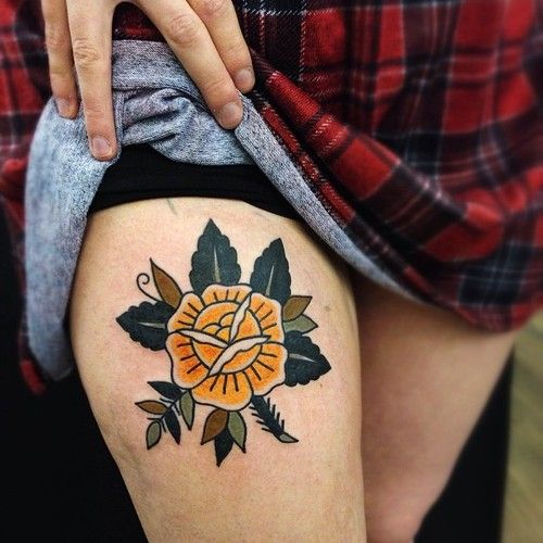 Yellow rose tattoo by Matt Cooley