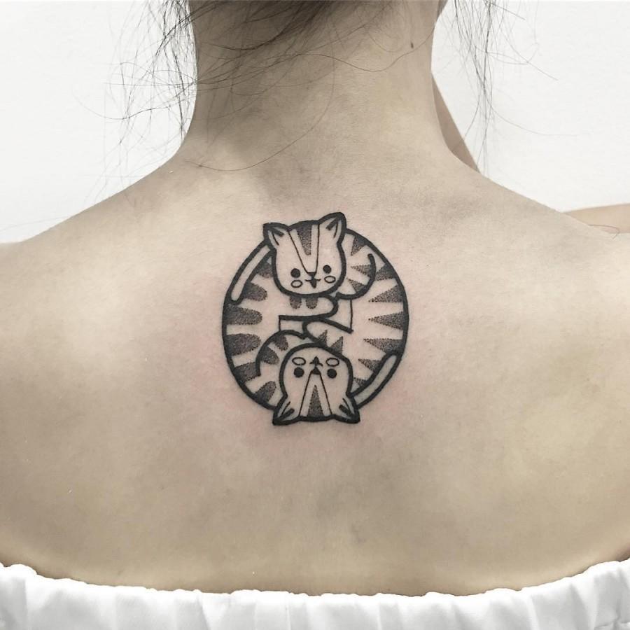 yin yang cat tattoo by hugotattooer