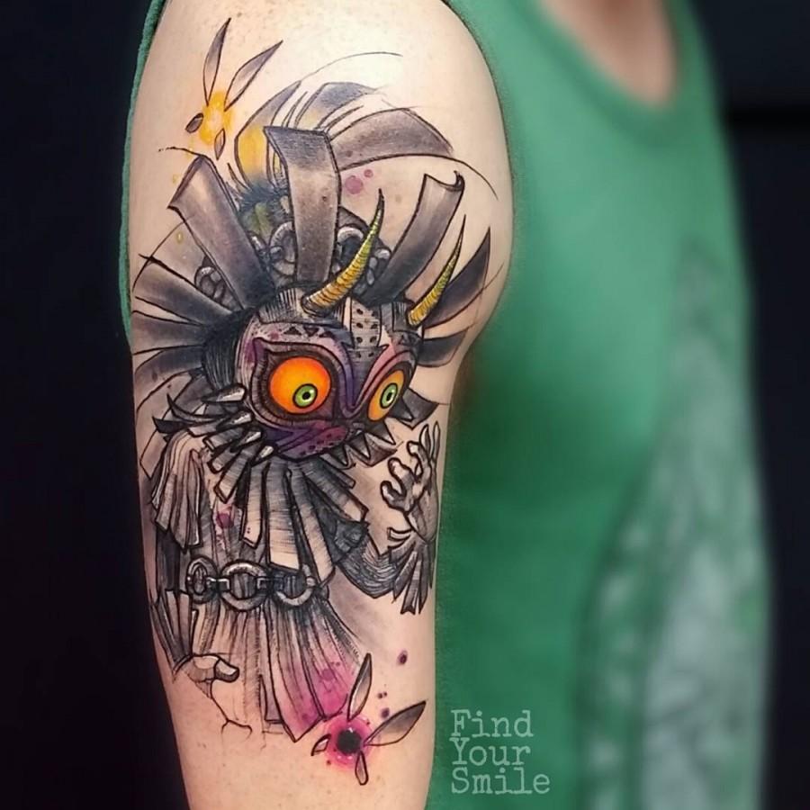 zelda-watercolor-tattoo