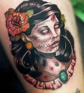 Zombie woman tattoo by Drew Shallis