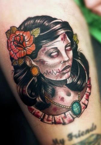 Zombie woman tattoo by Drew Shallis