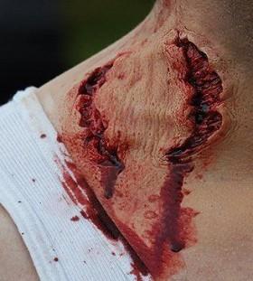 Zombies bites scary tattoo