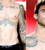 Adam Levine Chest Tattoo Sun and Hindi Leter