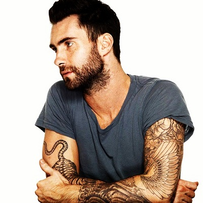 Adam Levine Flower and Wing Tattoo on Right Arm