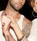 Adam Levine Guitar Tattoo on Right Forearm