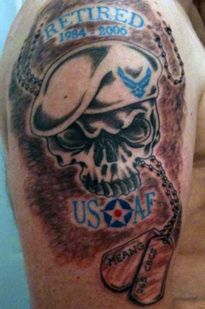 Air Force Skull Military Tattoos Design
