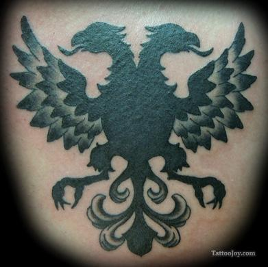 Exceptional Albanian Eagle Back Tattoo