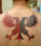 Silhouetted Black Double-headed Eagle Tattoo