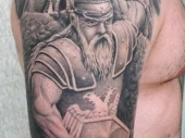 Awesome Viking Knight with Albanian Eagle Tattoo