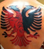 Albanian Eagle Back Tattoo for Men