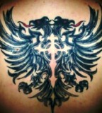 Albanian Eagle Tattoos with Cross Back Tattoo
