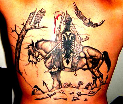 Dashing Albanian Eagle Tattoos with Knight Horse Riding