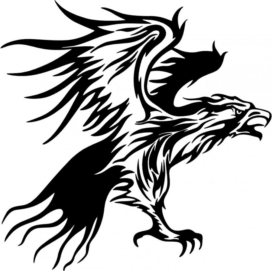 Tribal Flames Eagle Carvehicle Tattoo Design