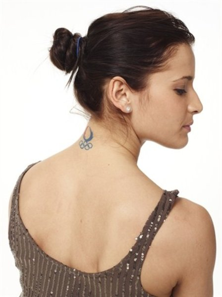 Stylized Picture Of Alicia Sacramone Olympic Neck Tattoo
