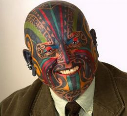 Colorful Polynesian Tattoo on Your Head