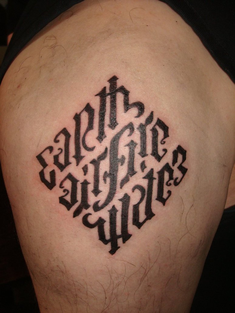 Rhombus Ambigram Elements Tattoo Design