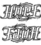 Hope Faith Ambigram Tattoo Sketch Design