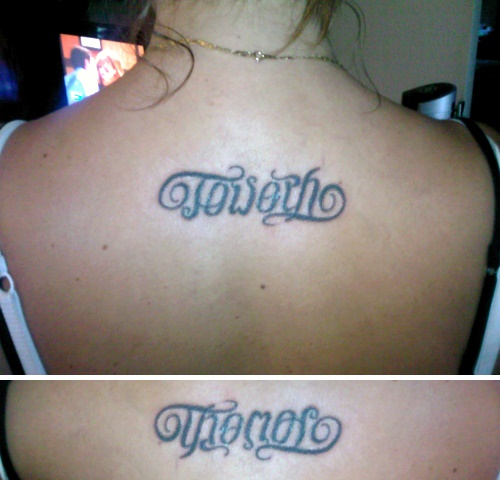 Ambigram Tattoo Design On Upper Back