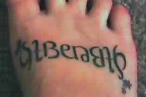 Ambigram Tattoos On Foot