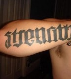 Amazing Strength Ambigram Tattoo Design