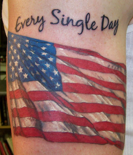 American Flag with Quotes Tattoo On Half Sleeve