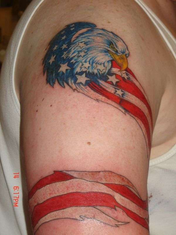 Eagle With American Flag Wrapped Around on Upper Arm