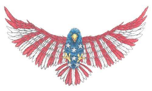 Flying Eagle with American FLag Feathers Tattoo Sketch design