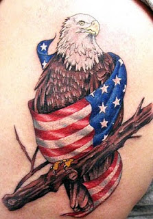 Pearch Eagle and Flag Covered Tattoo Design