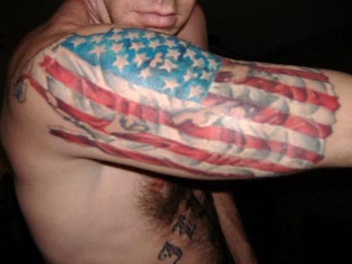 Remarkable American Flag Tattoo on Half Sleeve