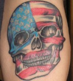 Skull With American Flag Tattoo Design