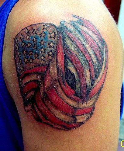 Small American Flag Tattoo On Shoulder