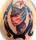 3D American Flag and Eagle Tattoo Design