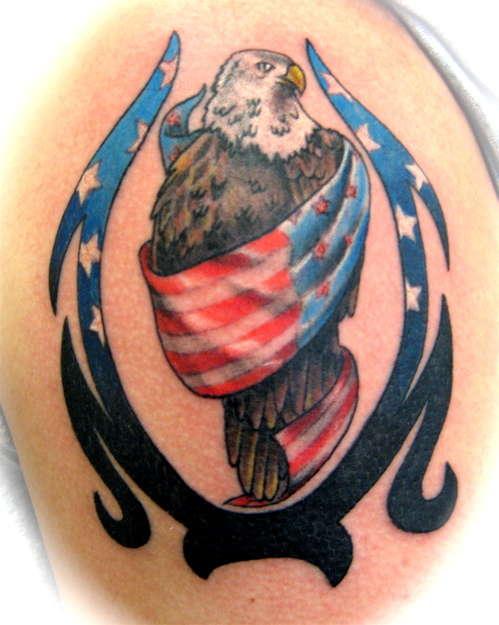 3D American Flag and Eagle Tattoo Design