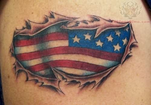 Torn Skin and American Flag Tattoo Design