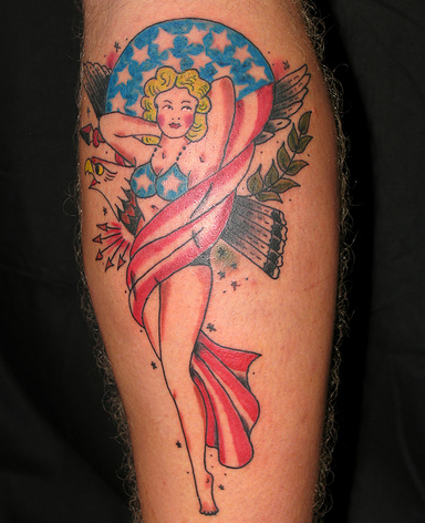 Singer and American FLag Tattoo Design