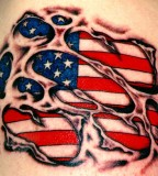 Flag Visible In The Skin Tattoo Design Ideas