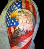 American Flag and Eagle Head Tattoos Design Ideas
