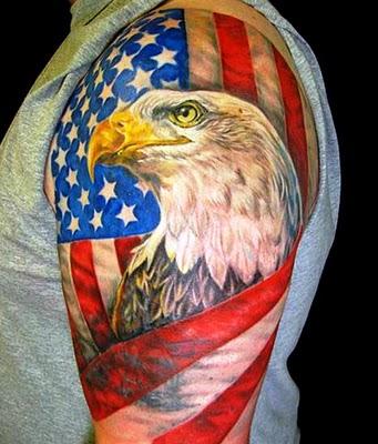 American Flag and Eagle Head Tattoos Design Ideas