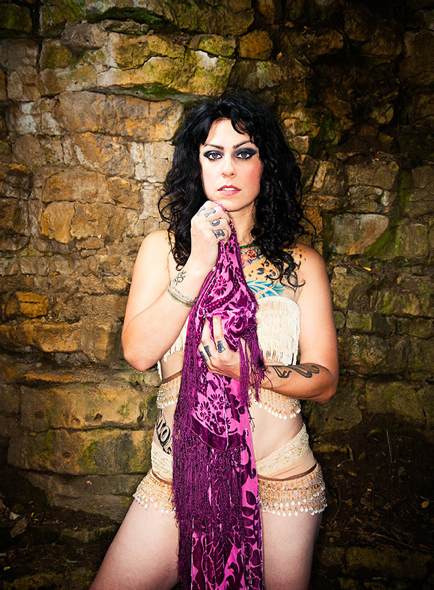 Tattooed Danielle Colby Cushman With Purple Scarf [NSFW]