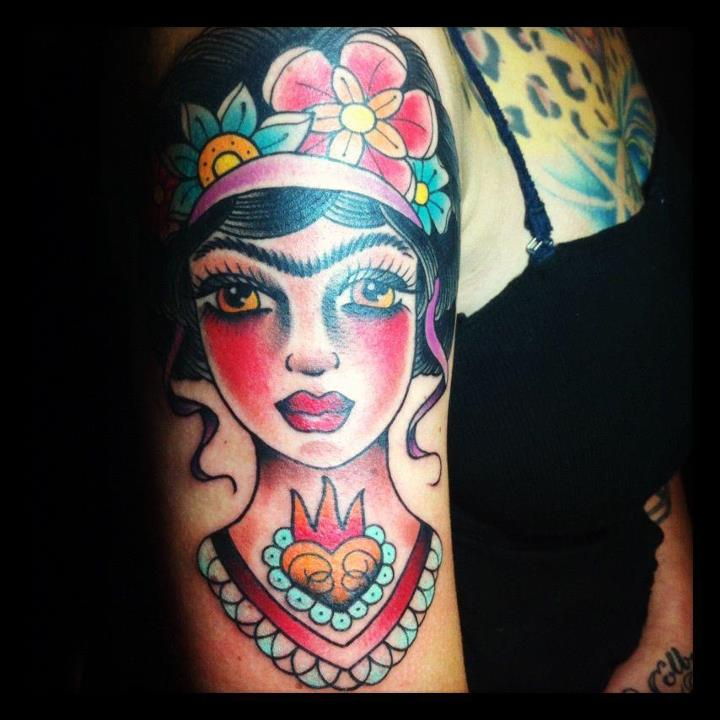 Danielle Colby Shows Right Arm Frida Tattoo